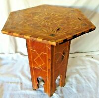 Handcarved Moroccan Teakwood folding Hexagon Table Stand With Inlays
