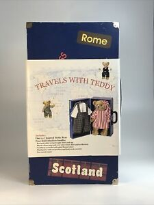 """Travel Friend With Teddy Bear with Trunk and 4 Outfits Clothes 13.5"""" bear Plush"""