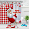 Red Plaid Checkered Merry Christmas Santa Shower Curtain Set Bathroom Decor 72""