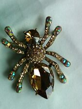 Aura Bora Spider Brooch/Pendant Boxed New X Large Brown Chrystal