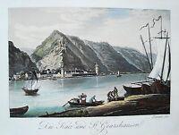 Burg die Katz St. Goarshausen  Rhein altkolorierte echte alte  Aquatinta 1834