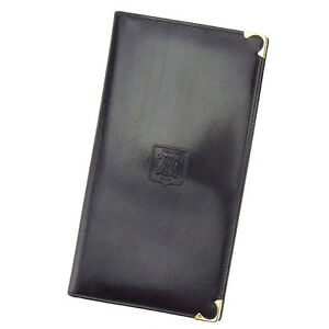 Celine Wallet Purse Macadam Black Gold Woman unisex Authentic Used E1156