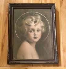 Antique Vintage Child Young Girl Portrait Print? Painting? Photo? Guilded Frame