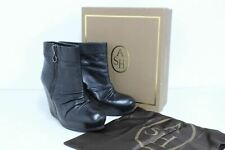 Ash Damas Uma Negro Napa Zapatos Botas al tobillo Botines de cuña UK5 EU38