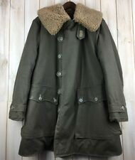 Vintage 40's WWII Swedish Military Army Coat Mats Larsson Sheepskin Parka L / XL