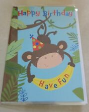 Cheap Animal Monkey Child's Boys Girls Happy Birthday Card Not Personalised