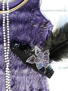 Ladies 20's 1920s PURPLE Fringe long Flapper dress Gatsby Costume size S/M 6 8