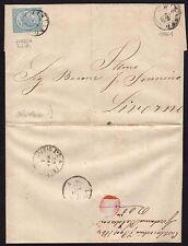 STORIA POSTALE Regno 1864 Piego da San Miniato a Livorno (BLT)