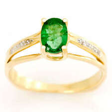 Natural Emerald Solitaire with Accents Fine Rings