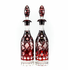 Pair of Bohemian Dark Red Glass Decanters; Overlay, Deeply Carved & Etched