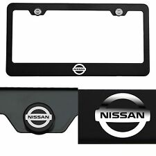 Laser Engraved Fit Nissan Logo Mirror Matte Black License Frame Stainless Steel