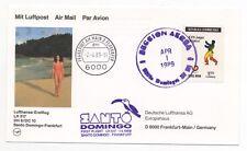 1989 DOMINICA First Flight Cover SANTO DOMINGO FRANKFURT GERMANY Lufthansa LH517