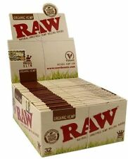 50 RAW ORGANIC 100% Natural Hemp Vegan King Size Slim Rolling Papers - FULL BOX