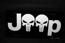 JEEP AND THE PUNISHER SKULL METAL LICENSE PLATE TAG FOR CARS