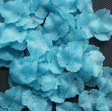 40 Blue Frosted Maple Leaf Leaves Beads Charms  25mm
