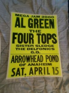 AL GREEN THE FOUR TOPS MOTWOWN SLEDGE CARDBOARD BOXING STYLE CONCERT POSTER
