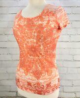 PrAna T-Shirt Burnout Tee Short Sleeve Top Womens Size S Orange