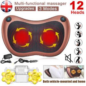 12 Drives Shiatsu Massager Body Massage Pillow Cushion Electric Neck Knead Back