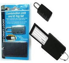 Nombre de combinación candado equipaje negro, identificaciones y Etiqueta para Maleta de viaje & Lock Set