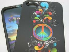 iPhone SE 5S HARD PROTECTOR CASE COVER COLORFUL BLACK RAINBOW PEACE MUSIC NOTE