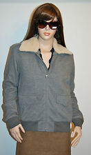 New $498 Ralph Lauren Wool Bomber Flight Jacket Lamb Fur Collar Large L Gray