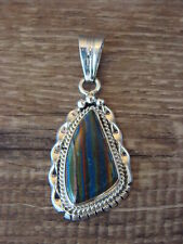 Native American Jewelry Sterling Silver Rainbow Calsilica Pendant! Signed