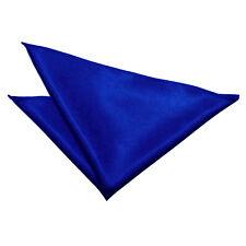 DQT Satin Plain Solid Royal Blue Formal Handkerchief Hanky Pocket Square