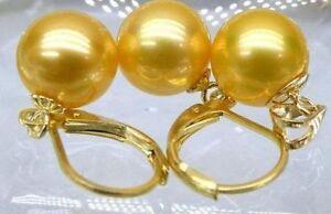 natural 10-11 mm south seas gold pearl pendant earings set
