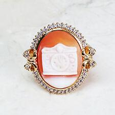 AMEDEO Miniatura Cinderella Clock 20mm Cameo Crystal Goldtone Ring Size 6 HSN