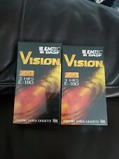 2 x Emtec Vision blank 3 hour video tapes new and shrink wrapped
