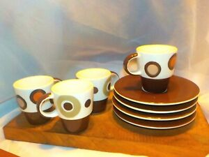 SET OF 4 Gaunaurd Espresso Cup Saucer Multicolored Brown Circle Pattern Coffee