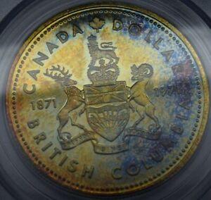 Canada British Columbia 1971 $1 Dollar PCGS SP64 rainbow toned beautiful