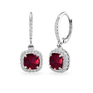 925 Silver Created Ruby Cushion-Cut Dangle Halo Earrings w/ White Topaz Accents