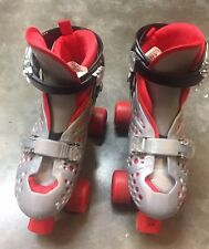 Roller Derby Trac Star Roller Skates Adjustable, Red And Grey