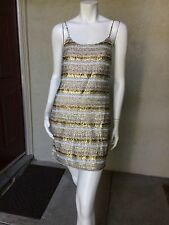 Alice + Olivia 100% Silk Sequin Evening Cocktail Dress Size 6 Small Silver Gold