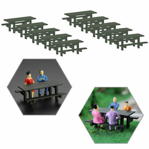 10pcs O Scale 1:50 Model Table Chair Outdoor  Camping Moss Green Table Bench