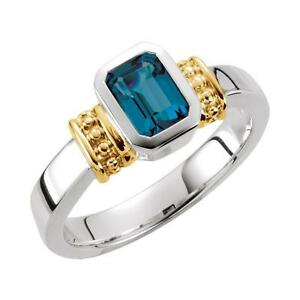 London Blue Topaz Granulated Ring Sterling Silver and 14k Yellow Gold