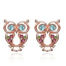 Women's Owl Earrings Hollow Ear Stud 18k Rose Gold Filled Fashion Jewelry