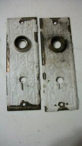 Set of Vintage Door Plate with Skeleton Key Hole