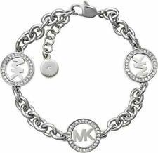 Michael Kors MKJ4730040 Runway MK Logo Silver Tone Womens Bracelet