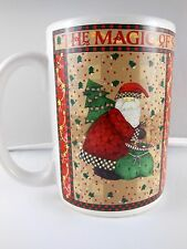 Magic Of Santa Mug Cup With Tree and Teddy Bear Debbie Mumm Sakura 12 oz