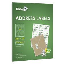 3000 Labels 30 UP per Sheet 2.625