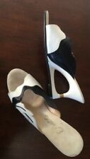 Vintage Onex Slides Mules Awesome Heel Detail Leather Upper Very Palm Springs!