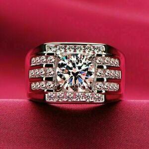 14K White Gold Classic Men's Engagement wedding Channel Set Ring 2.12 Ct Diamond