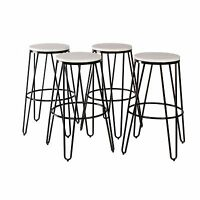 Tully Backless Modern Two Toned Wood and Metal Bar Stools, Set of 4