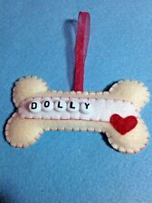 Handmade Shabby Chic Cute Dog Bone Personalised Felt Christmas Tree Decoration