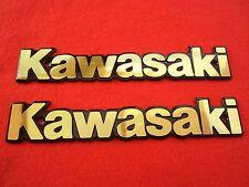 KAWASAKI Classic Retro Metal Tank Emblem Badge GOLD & BLACK x 2 ***UK STOCK***