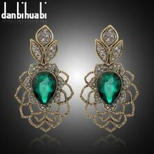 Danbihuabi Vintage long Earrings Antique gold green stone austrian crystal Drop
