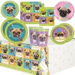 Pug Dog Party Supplies Tableware, Balloons, Decorations, Party Bags