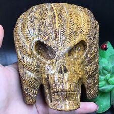 TOP-920g Natural Elephant Skin Jasper Skull Hand Carved Healing Reiki A9921